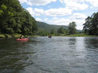 Upper Delaware river with kayaking at Equinunk Pennsylvania Wayne County in the Pocono Mountains